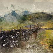 Watercolor Painting Of Stunning Landscape Of Chrome Hill And Parkhouse Hill Dragon's Back In Peak Di Poster