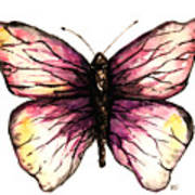 Watercolor Pink Butterfly Poster