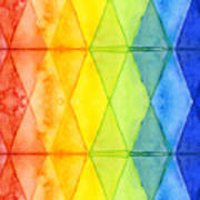 Watercolor Rainbow Pattern Geometric Shapes Triangles Poster