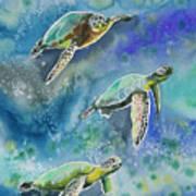 Watercolor - Sea Turtles Swimming Poster