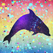 Watercolor Silhouette - Dolphin  Porpoise Poster