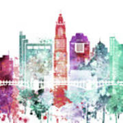 Watercolor Skyline Of Columbus, Ohio Poster