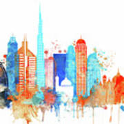 Watercolor Skyline Of Dubai Poster