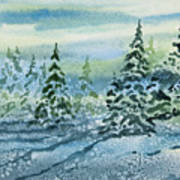 Watercolor - Snowy Winter Evening Poster
