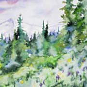 Watercolor - Summer In The Rockies Poster
