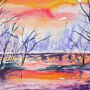 Watercolor - Sunrise At The Pond Poster