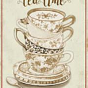 Watercolor Teacups-e Poster