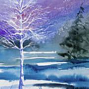 Watercolor - Winter Aspen Poster