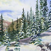 Watercolor - Winter Snow-covered Landscape Poster