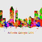 Watercolour Art Print Of The Skyline Of Atlanta Georgia Usa Poster