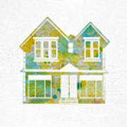 Watercolour House Poster