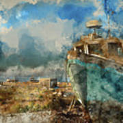 Watercolour Painting Of Abandoned Fishing Boat On Beach Landscap Poster