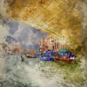 Watercolour Painting Of Low View Through Rialto Bridge Along Gra Poster
