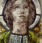 Watercolour Painting Of Stained Glass Religious Window In Church Poster