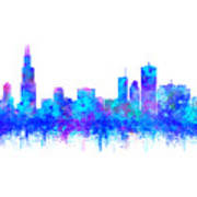 Watercolour Splashes And Dripping Effect Chicago Skyline Poster