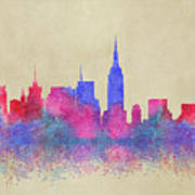 Watercolour Splashes New York City Skylines Poster