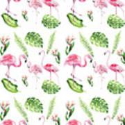 Watercolour Tropical Beauty Flamingo Family Poster