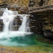 Waterfall At Johnston Canyon Poster