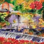 Waterfall at the Old Saugerties Mill Poster