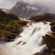 Waterfall In Norweigian Mountain Landscape Poster