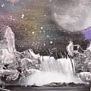 Waterfalls At Night Poster