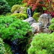 Waterfalls In Japanese Garden Poster