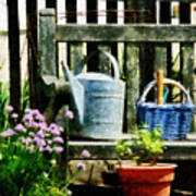Watering Can And Blue Basket Poster