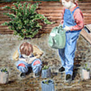 Watering The Plants Poster