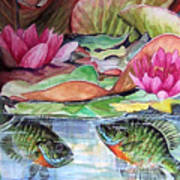 Waterlillies And Blue Giles Poster
