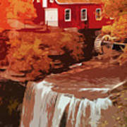 Watermill In Autumn Poster
