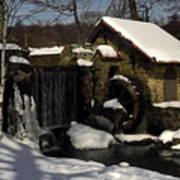 Waterwheel With Snow Poster