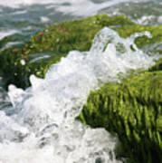 Wave Splash On The Green Rock Poster