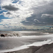 Waves Breaking Against The Beach And Cloud Streaming Above  Skegness Lincolnshire England Poster