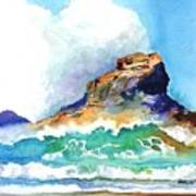 Waves Bursting On Rocks Poster