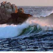 Waves Crash Against The Rocks Poster
