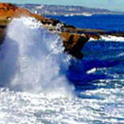 Waves Crashing On The Rocks Poster