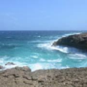 Waves Crashing On To The Lava Rock At Daimari Beach Poster