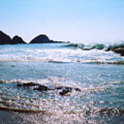 Waves On The Mid Beach Rocks At Zipolite  Poster