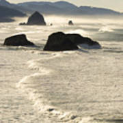 Waves Roll Ashore On The Oregon Coast Poster