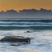 Waves Rolling In At Sunrise Poster