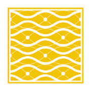 Waves With Border In Mustard Poster