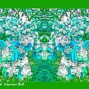 Waxleaf Privet Blooms In Aqua Hue Abstract With Green Frame Poster