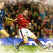 Wayne Rooney Of Manchester United Scores Poster