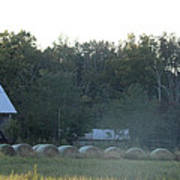 Weathered Barn And Hay Bales  Poster