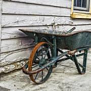 Weathered Green Wheelbarrow Poster