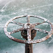 Weathered Metal Valve On Ice Poster