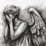 Weeping Angel Watercolor Poster