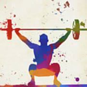 Weightlifter Paint Splatter Poster