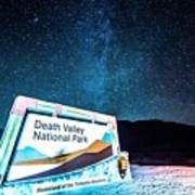 Welcome Sign To Death Valley National Park California At Night Poster