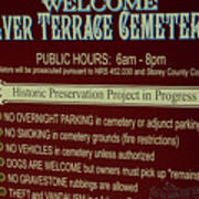 Welcome Silver Terrace Cemeteries Poster